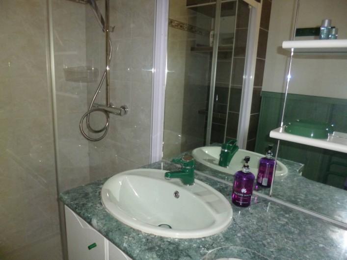 Location de vacances - Gîte à Bieuzy - lavabo et  grande douche italienne au fond