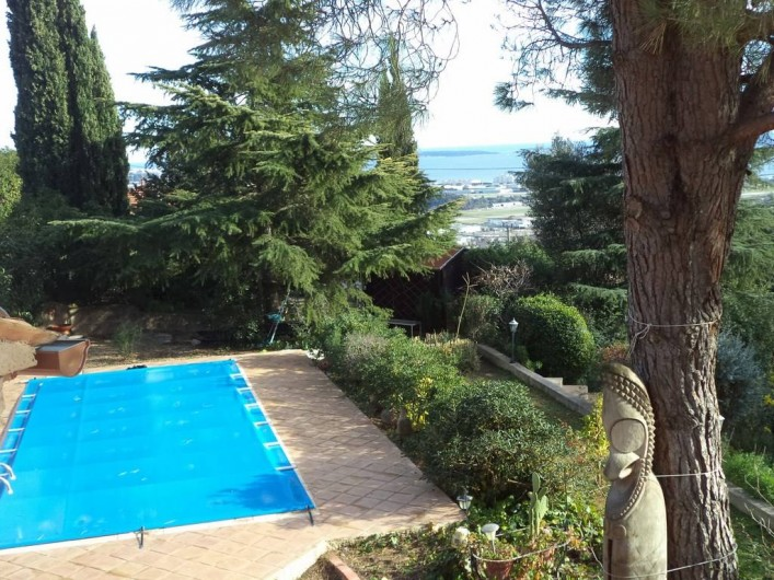 Location de vacances - Villa à Mandelieu-la-Napoule - la piscine l'hiver vue d'en haut