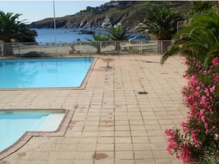 Location de vacances - Appartement à Cerbère - Piscine dans résidence, grand et petit bassins en face la mer.