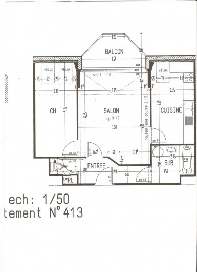 Location de vacances - Appartement à Perros-Guirec - Plan de l'appartement