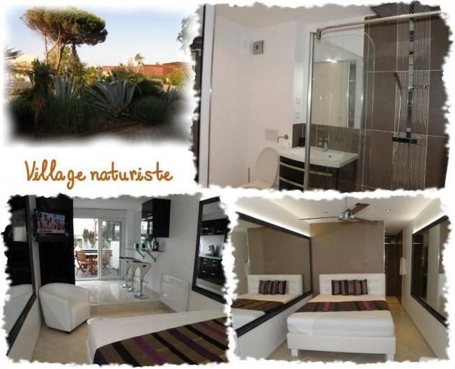Location de vacances - Studio à Le Cap d'Agde - Lavabo, wx, grande douche (2 personnes) à l'italienne. Grand lit double en 160