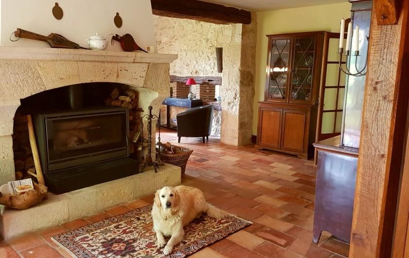 Location de vacances - Villa à Marsolan - L'âtre central du living