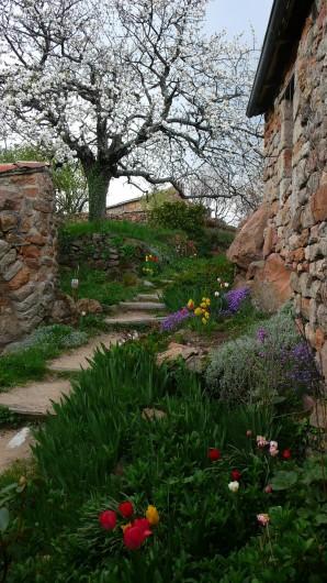 Location de vacances - Camping à Saint-Julien-du-Gua - L'escalier d'accès aux gîtes embelli par les fleurs du printemps