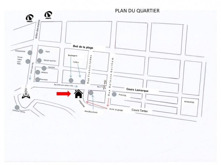 Location de vacances - Appartement à Arcachon - Plan du quartier