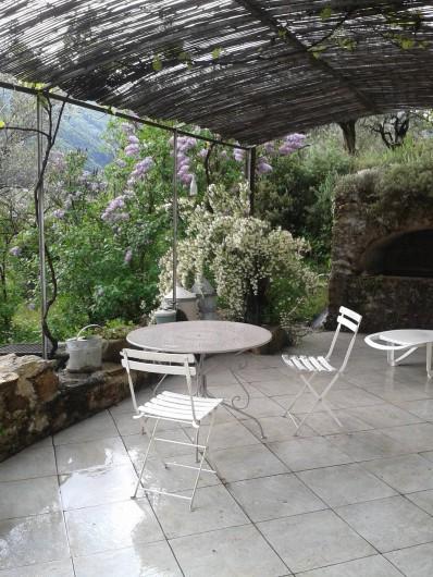 Location de vacances - Villa à Nyons - la terrasse et le bassin sous la treille;