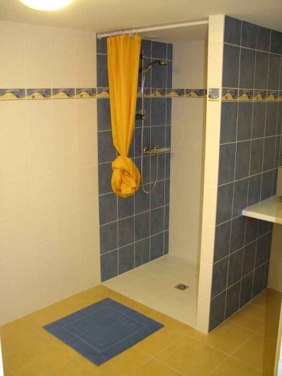 Location de vacances - Gîte à Les Clouzeaux - Salle d'eau près de la piscine intérieure avec lavabo, douche et WC