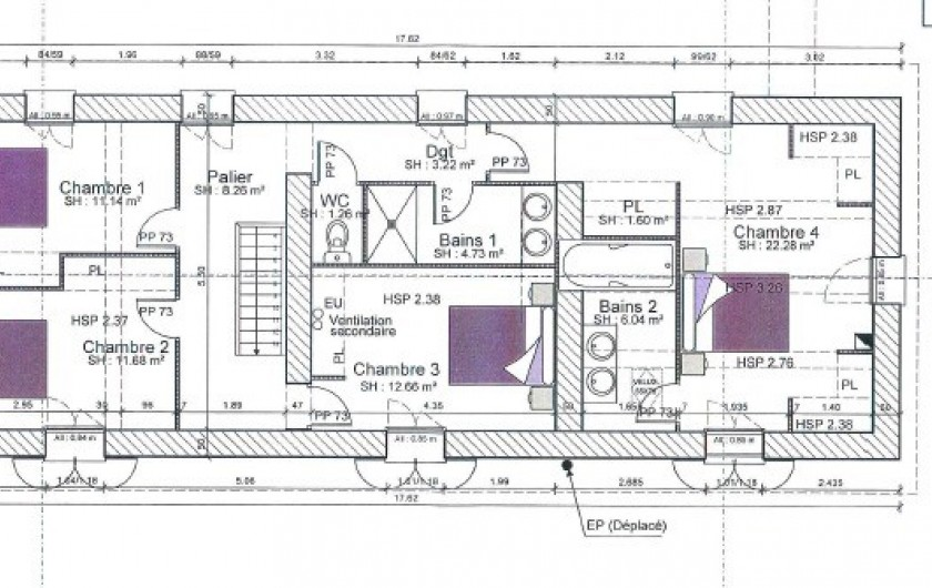 Location de vacances - Gîte à Pomeys - Le plan de l'étage.