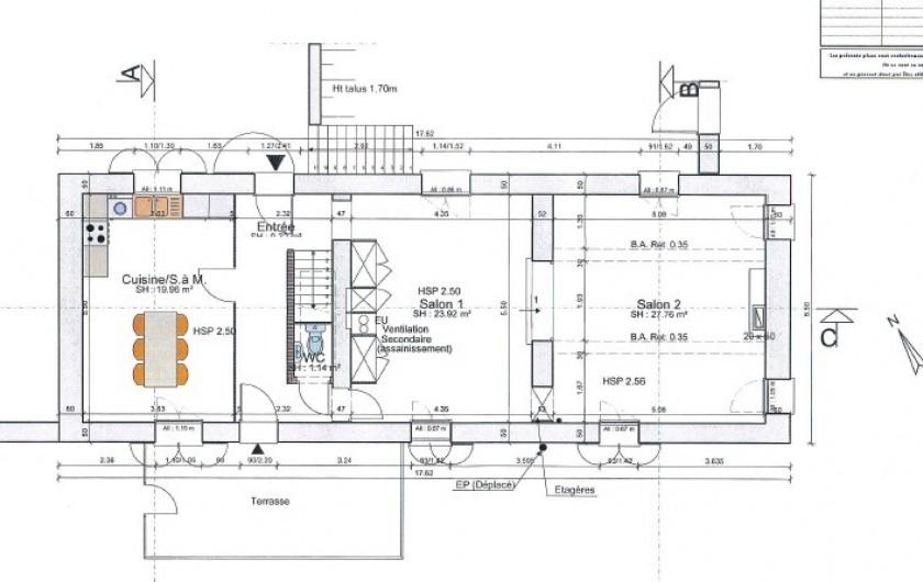 Location de vacances - Gîte à Pomeys - Le plan du rez de chaussée.